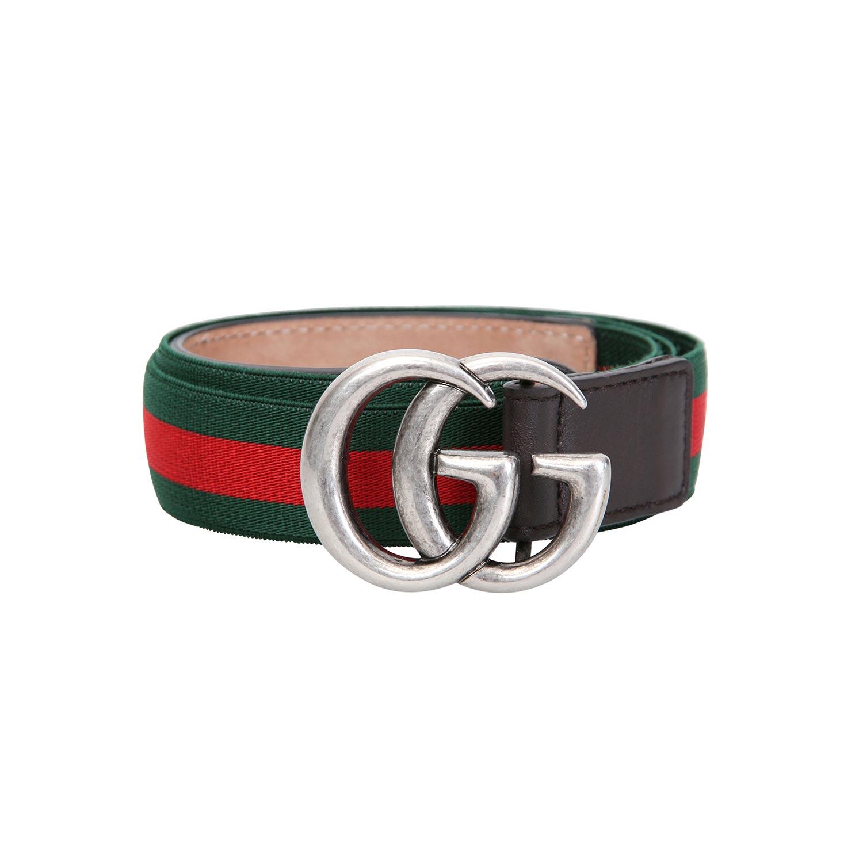 Lot 41 - GUCCI klassischer Textilgürtel, Gr. 38,grün-rotes Elastikband mit braunen Lederenden und silberfarb.