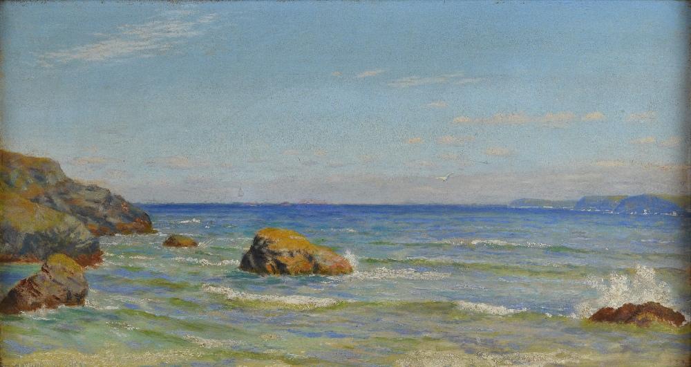 Arthur Hughes (1832-1915), Cornish seascape, oil on canvas signed, 21cm x 40cm.See Arthur Hughes, - Image 3 of 8