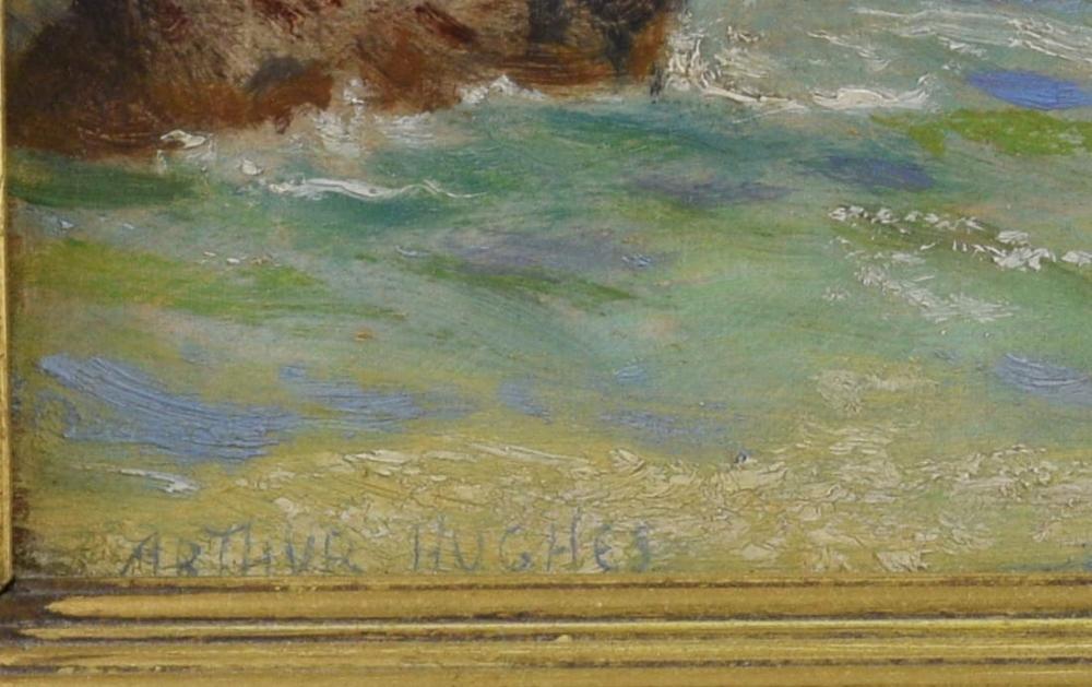 Arthur Hughes (1832-1915), Cornish seascape, oil on canvas signed, 21cm x 40cm.See Arthur Hughes, - Image 4 of 8