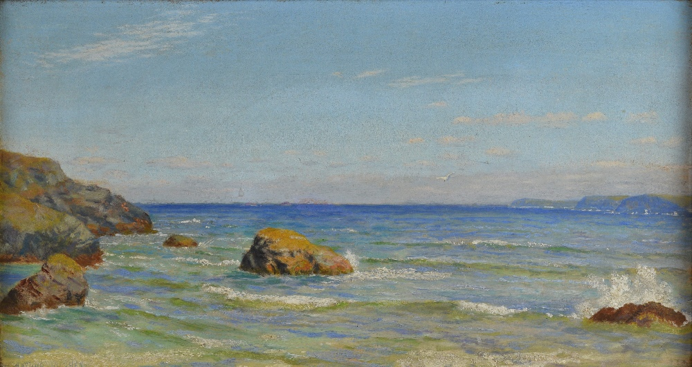 Arthur Hughes (1832-1915), Cornish seascape, oil on canvas signed, 21cm x 40cm.See Arthur Hughes, - Image 2 of 8