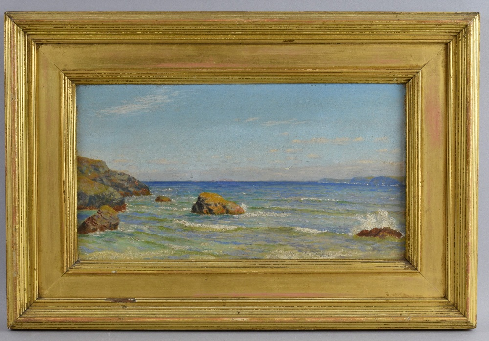 Arthur Hughes (1832-1915), Cornish seascape, oil on canvas signed, 21cm x 40cm.See Arthur Hughes,