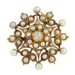 An early 20th century gold diamond and split pearl brooch. The old-cut diamond and split pearl