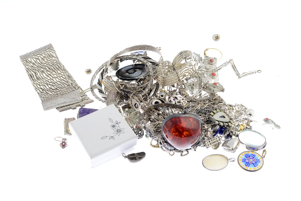 Lot 43 - A selection of silver and white metal jewellery. To include a a pair of Ola Gorie earrings of