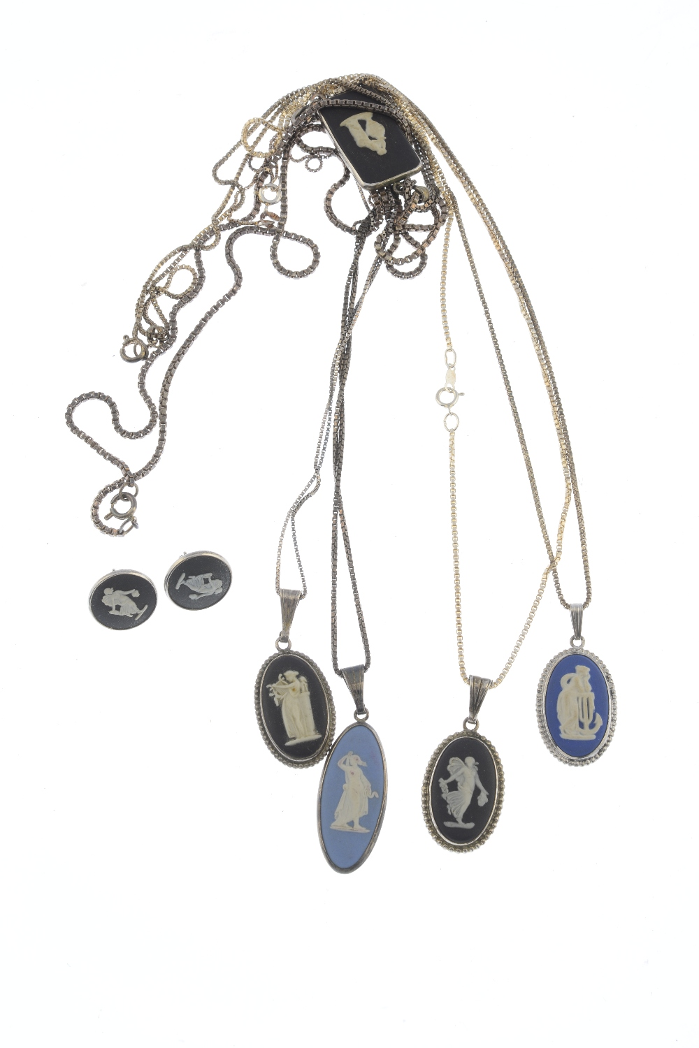 Lot 19 - WEDGWOOD - five pendants and a pair of earrings. To include a pendant featuring a Wedgwood cameo