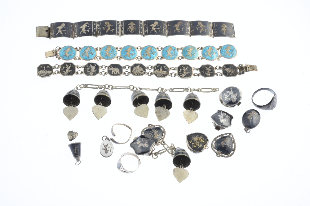 Lot 33 - A selection of Siam enamel jewellery. To include a brooch, four bracelets, two signet rings, with