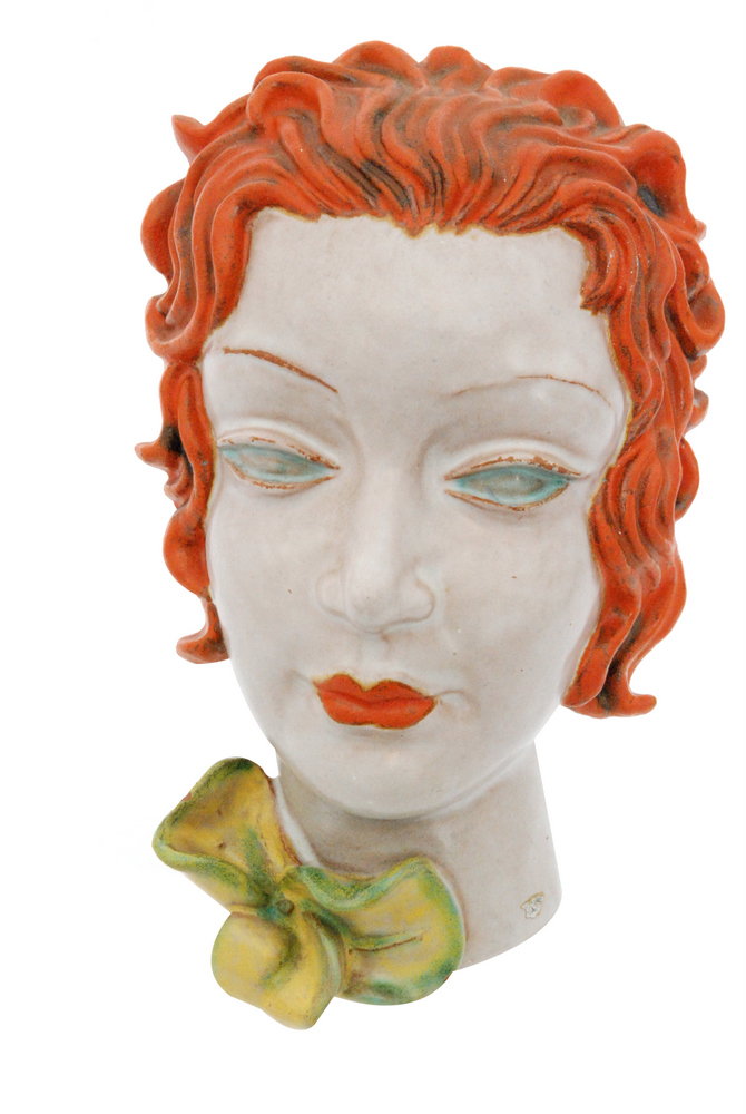 Lot 1 - A 1930s Goldschieder (Austria) Art Deco wall mask, shape 6911,