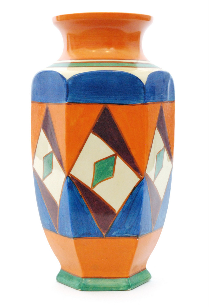 Lot 48 - A Clarice Cliff Original Bizarre shape 38 vase of footed hexagonal form with flared collar neck