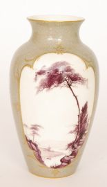 Lot 26 - A Royal Worcester vase decorated by Sedgley with a central cartouche hand painted with a puce