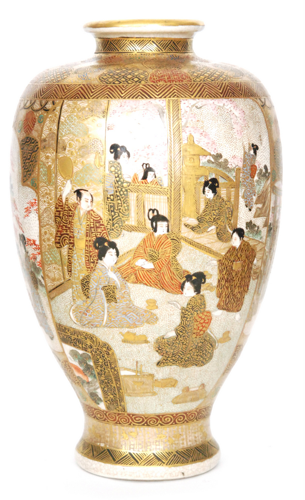 Lot 6 - A 19th Century Japanese Meiji period Satsuma vase of footed form decorated in the round with