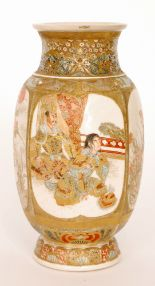 Lot 8 - A late 19th Century Japanese Meiji period Satsuma vase decorated with four panel scenes,