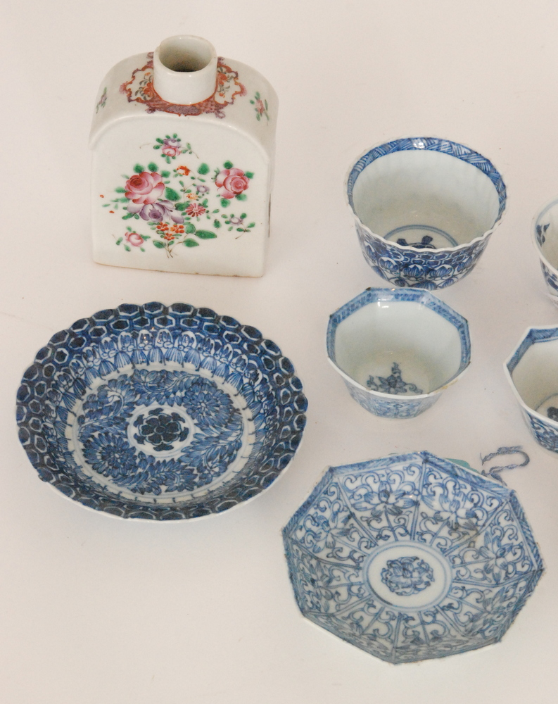 Lot 44 - Four assorted 18th and 19th Century Chinese blue and white teabowls and saucer of varying form,
