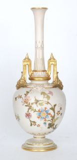 Lot 3 - A Royal Worcester Blush Ivory shape 1406 vase decorated to the ovoid body with sprays of flowers