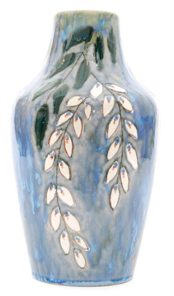 Lot 59 - A large boxed Cobridge Pottery Stoneware vase decorated in the Pussy WIllow pattern,