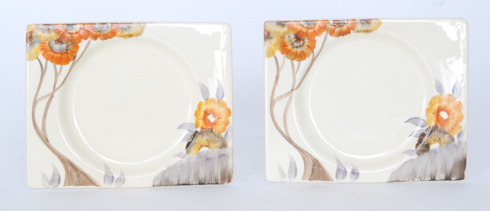Lot 28 - A pair of Clarice Cliff Rhodanthe Biarritz side plates circa 1936 hand painted to the shoulder with