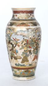 Lot 23 - A late 19th to early 20th Century Japanese Satsuma vase panel decorated with scenes of warriors to