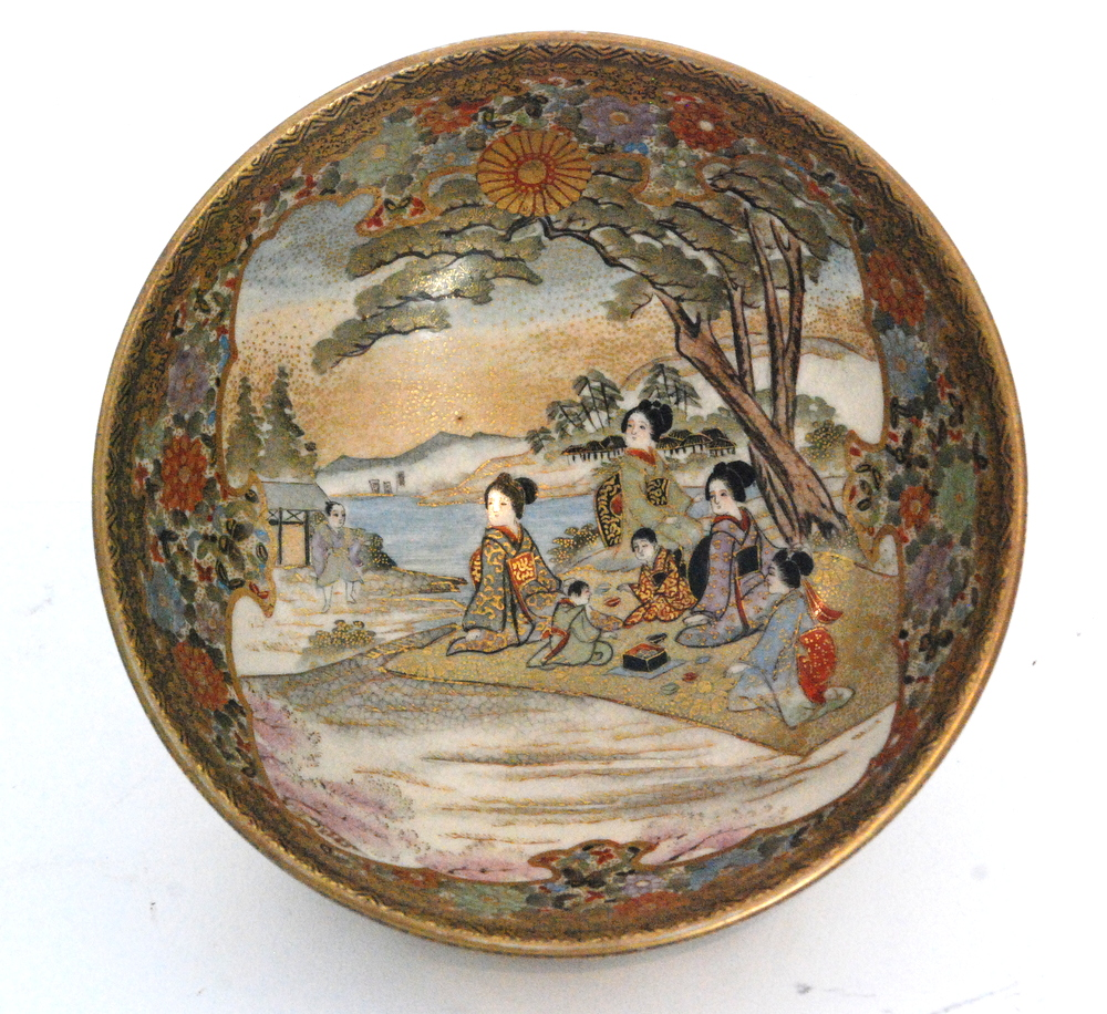 Lot 22 - A small late 19th to early 20th Century Japanese Satsuma footed bowl decorated to the interior with