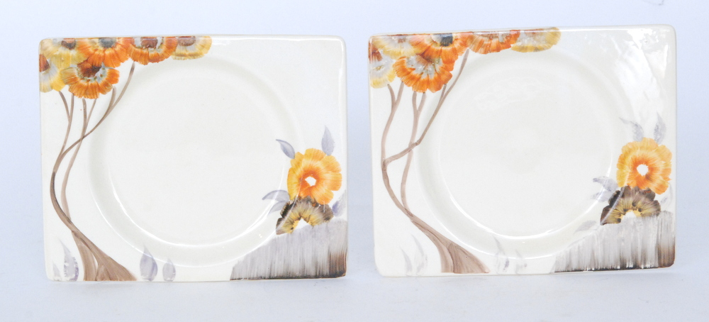 Lot 29 - A pair of Clarice Cliff Rhodanthe Biarritz side plates circa 1936 hand painted to the shoulder with