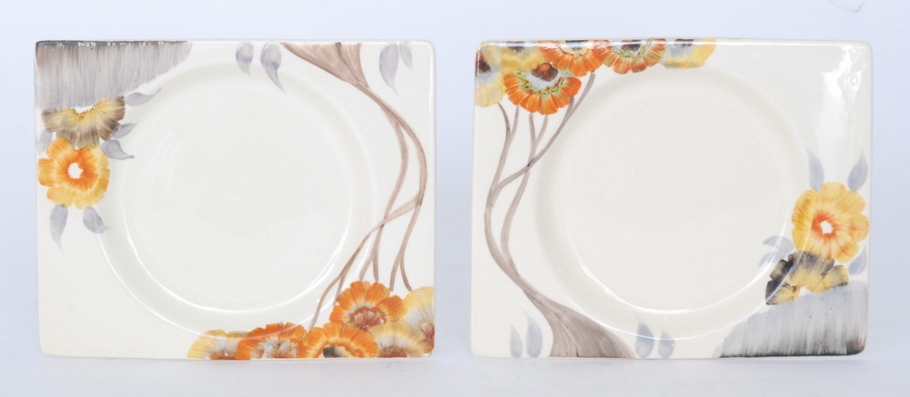 Lot 30 - A pair of Clarice Cliff Rhodanthe Biarritz side plates circa 1936 hand painted to the shoulder with