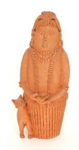 Lot 15 - A large terracotta clay studio pottery figural group by Joan Elizabeth Woollard depicting a lady