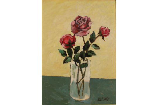 """ALFREDO MESCHIS - """"Vaso di fiori"""". Dipinto ad olio su tela in ..."""