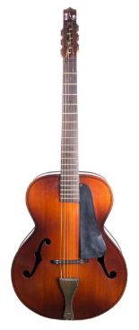 Lot 76 - 1930s Kay violin guitar, made in USA; Finish: violin type lacquer, lacquer checking, other minor