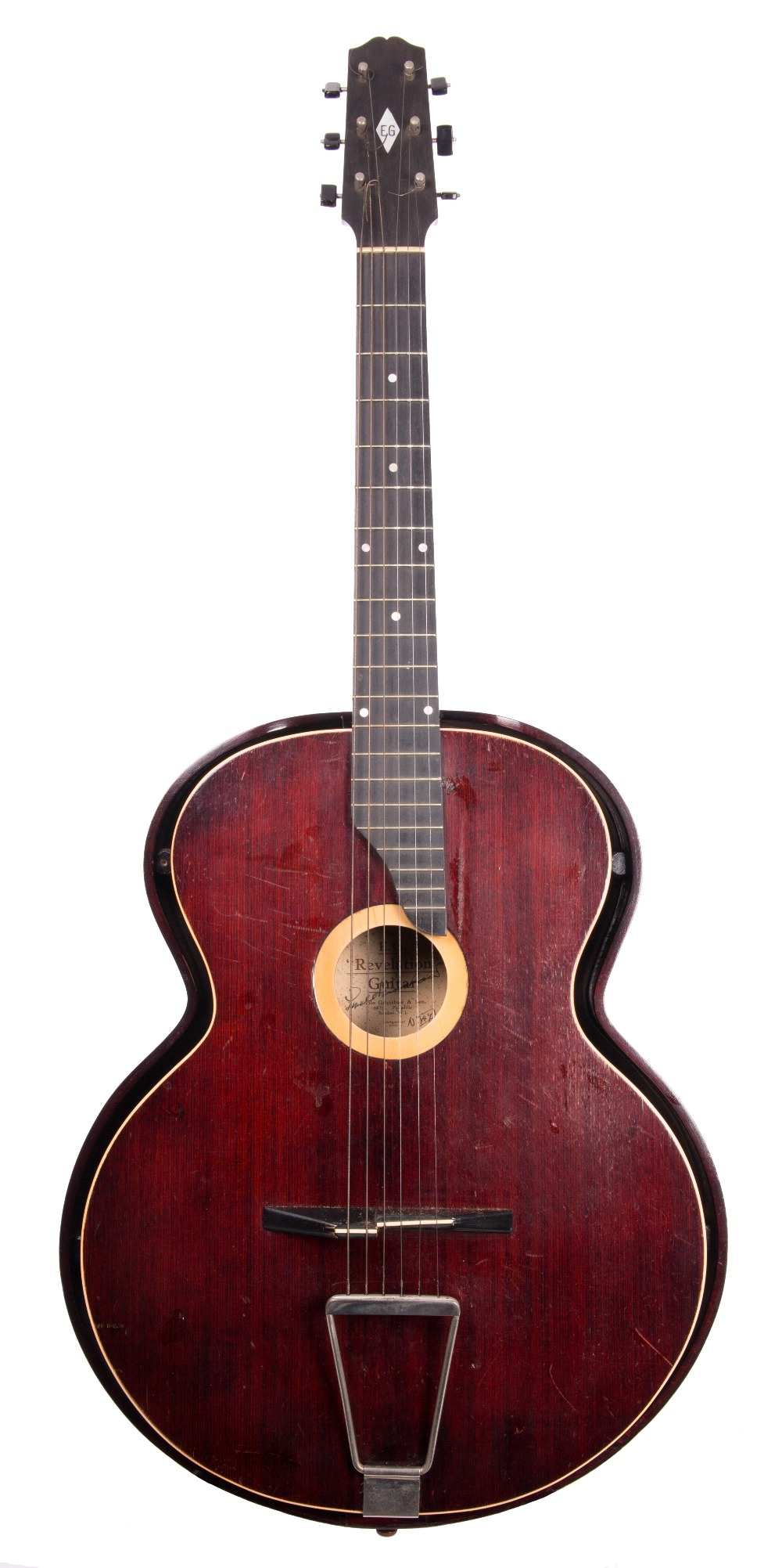 Lot 77 - Emile Grimshaw Revelation acoustic guitar, circa 1933, made in England, no. 47; Finish: wine red,