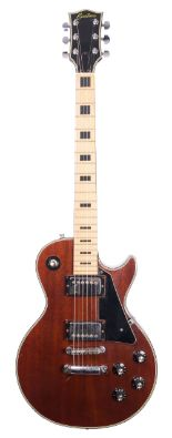 Lot 78 - 1970s 'Custom' Les Paul style electric guitar, made in Japan, ser. no. 76xx20; Finish: walnut,