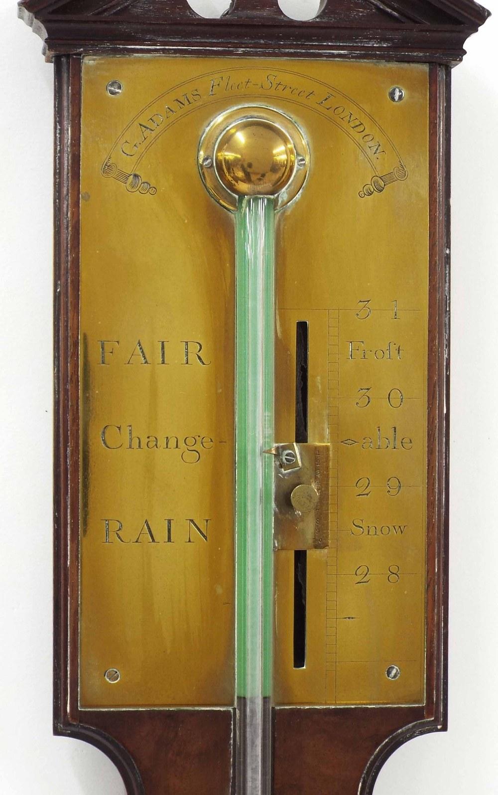 Lot 1016 - Good mahogany stick barometer, the brass scale signed G. Adams, Fleet Street London, over a flat