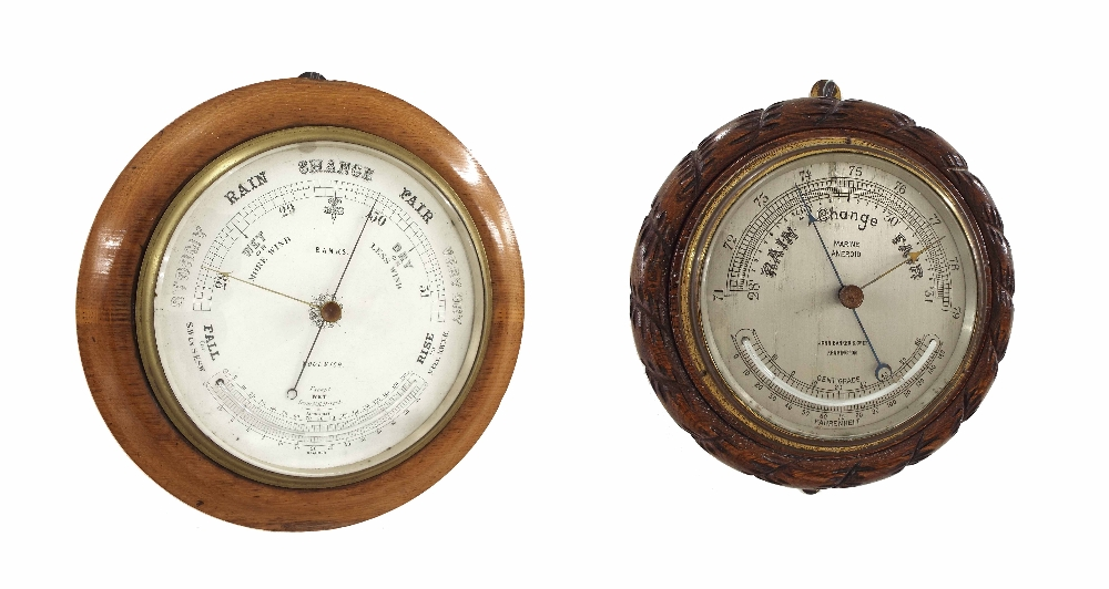 "Lot 1025 - Circular barometer, the 8"" white dial signed Banks, Woolwich and fitted with thermometer, within a"