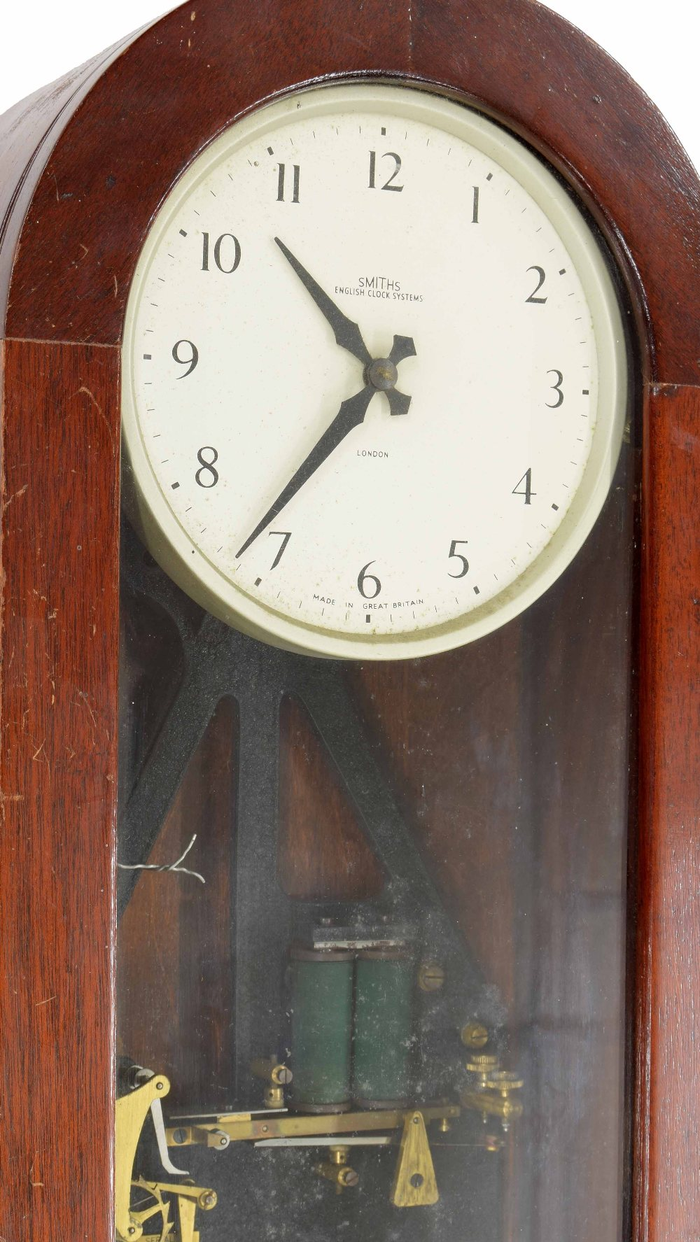 """Lot 1127 - Smiths Electric Clock Systems of London master clock, the 6.25"""" white dial within a mahogany"""