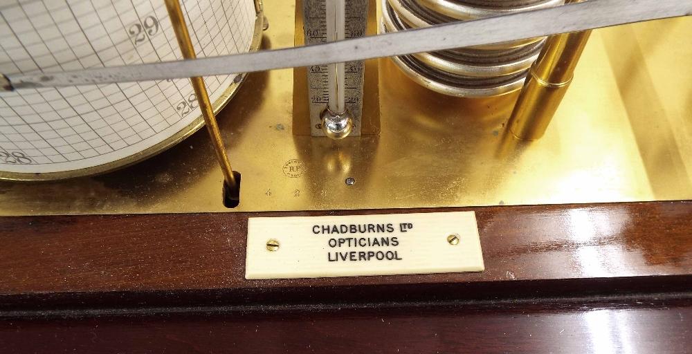 Lot 1027 - Good mahogany barograph, bearing an ivorine plaque inscribed Chadburns Ltd, Opticians Liverpool,
