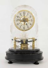 """Lot 1122 - Bulle Patent electric mantel clock, the 5"""" silvered twenty-four hour dial with skeletonised"""