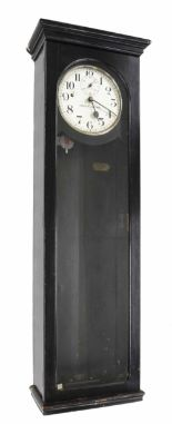"Lot 1128 - National electric master clock, the 9"" silvered dial with subsidiary seconds dial, within an"