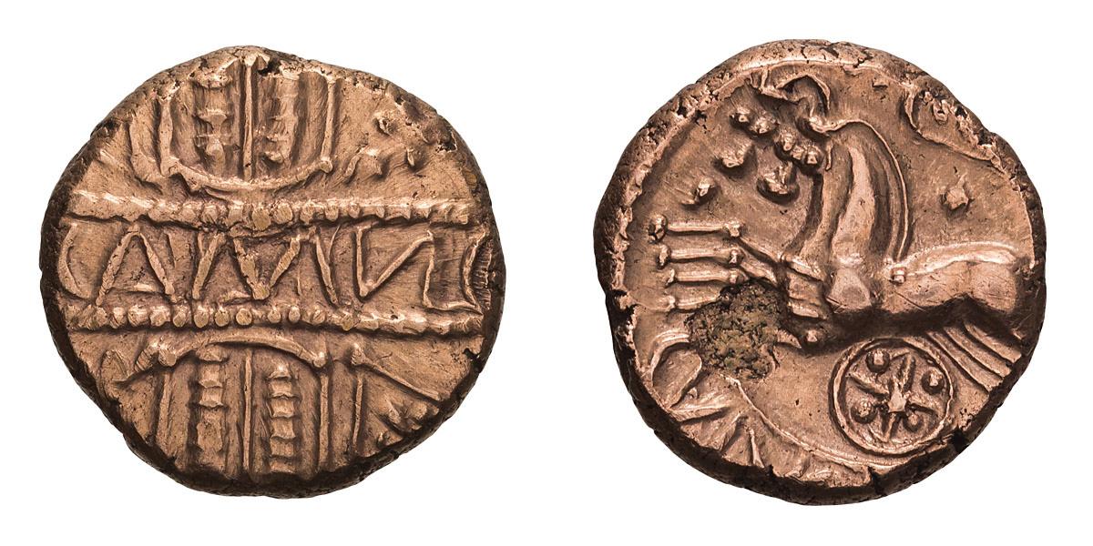 Celtic Britain, Catuvellauni. Cunobelin. Stater, pink gold.