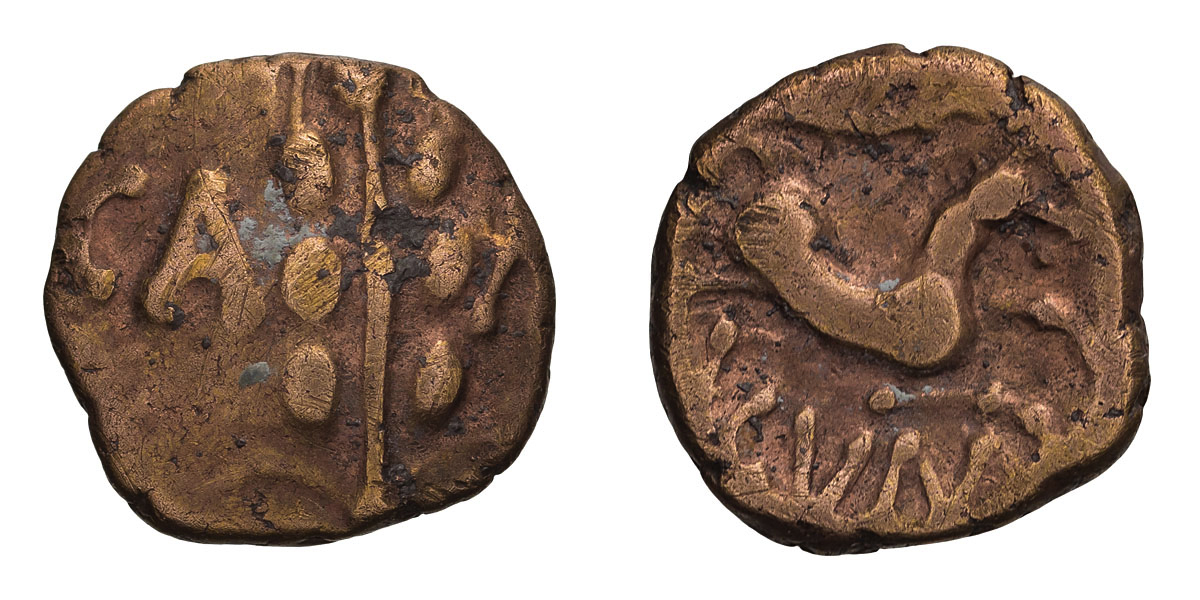 Celtic Britain, Catuvellauni. Cunobelin. Linear type, Gold Quarter Stater.