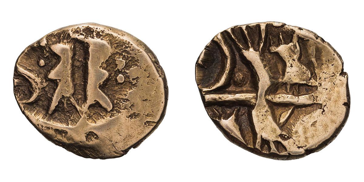 Lot 6 - Celtic Britain, Kent. Kentish geometric type, Gold Quarter Stater.