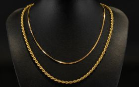 9ct Gold Rope Twist Chain / Necklace - Full Hallmark for 9ct.