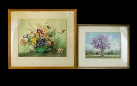 H. C Simpson 1960, Original Watercolour On Paper Depicting blossoming fruit tree in meadow, 10 X