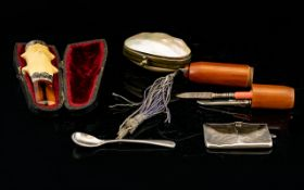 A Small Collection Of Antique Accessories And Silver Items Five items in total to include silver