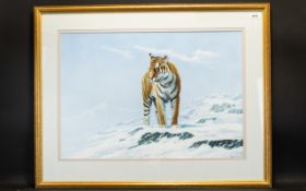 Peter Jepson (born 1936); Pastel, Study Of A Tiger In An Arctic Habitat,