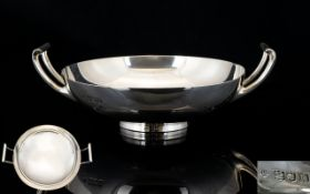 Edwardian Period Superb Quality Twin Handle Silver Footed - Small Bowl of Excellent Form.