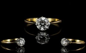 18ct Gold Set Superb Quality Single Stone Diamond Ring,