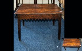 Arts & Crafts Occasional Table of plain form with Gothic-revival style apron, rustic, aged patina.