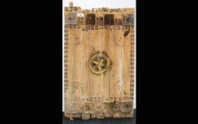 Saudi Arabia 19th Century Painted Wooden Window Shutter 18x29 Inches