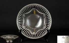 Edwardian Period Classical Design Superb Quality - Open worked Silver Footed Bowl.