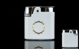 Ronson Varaflame Chrome and Enamel Lighter From The 1960's, with Original Ronson Case. As New