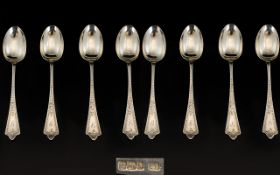 Edwardian Period Excellent Set of Eight ( 8 ) Silver Teaspoons with Elegant Shaped Stems and