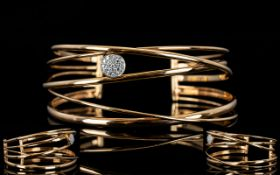 18ct Rose Gold - Contemporary Design Superb Quality Diamond Set Cuff Open Torque Bangle with