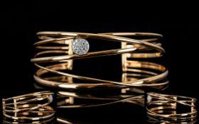 18ct Rose Gold - Contemporary Design Superb Quality Diamond Set Cuff Open Torque Bangle with