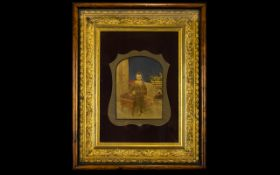 A Victorian Photographic Print In Ornate Box Frame Small hand tinted portrait of young male in
